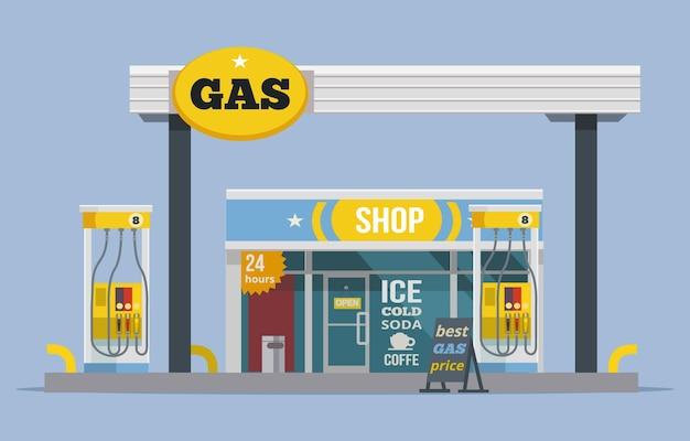 Posto de gasolina. ilustração em vetor plana