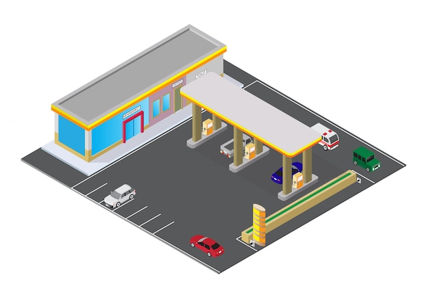 Posto de gasolina isométrico