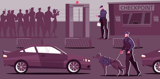 Posto de inspeção de fronteira externa com ilustração de pedestres e automóveis