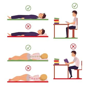 Postura correta e incorreta nas costas e pescoço