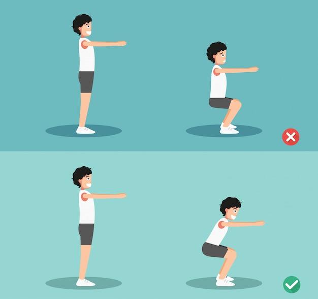 Postura de agachamento errada e direita masculina