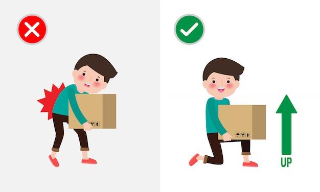 Postura de elevação correta e incorreto o homem levanta a posição errada e correta. doença dor nas costas. cuidados médicos. inadequado versus contra elevação adequada. ilustração .