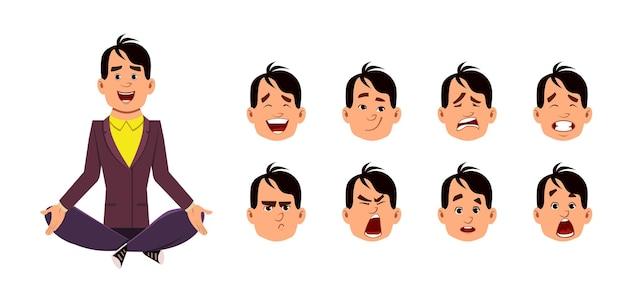 Postura de meditação ou ioga em jovem sentado. personagem de jovem com diferentes tipos de expressão facial.