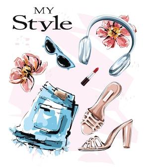 Postura plana definida com fones de ouvido, sapatos, óculos de sol e shorts