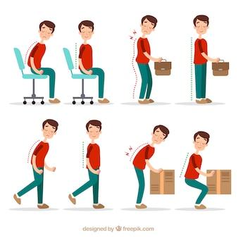 Posturas corretas e incorretas para atividades