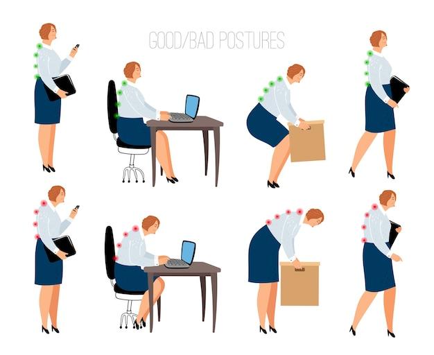 Posturas ergonômicas da mulher. posição feminina correta e errada na mesa de trabalho e levantamento de caixa, sentado e em pé ilustração vetorial com modelos de mulheres