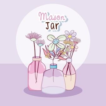 Pote com conceito de cartoons cute flores