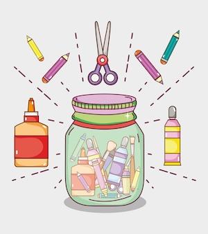 Pote com conceito de desenhos animados de suprimentos de artesanato