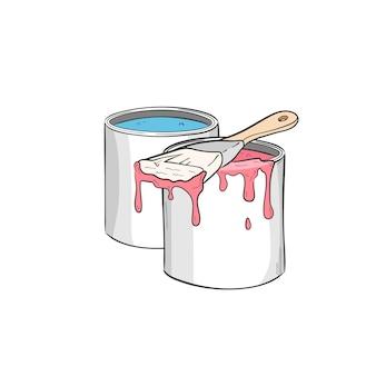 Pote com tinta. emulsão em baldes e pincel.