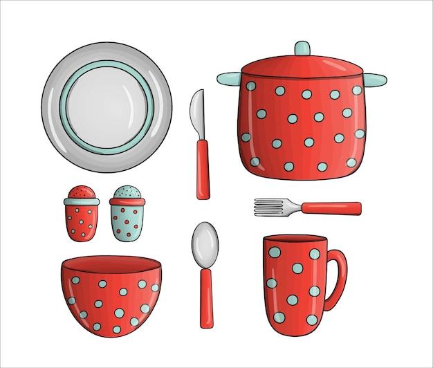 Pote de bolinhas vermelhas de vetor, tigela, caneca, utensílios de jantar. ícones de ferramentas de cozinha isolados no fundo branco. equipamento de cozinha do estilo dos desenhos animados. conjunto de ilustração vetorial de louças