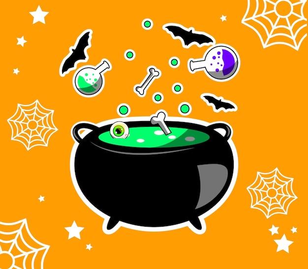 Pote de bruxa com poções ilustradas em vetor
