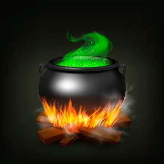 Pote de bruxa na madeira de fogo com poção verde e vapor na ilustração realista de fundo preto