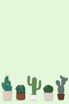Pote de cacto fundo verde vetor bonito estilo desenhado à mão