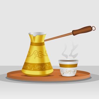 Pote de café cezve turco editável e copo fincan