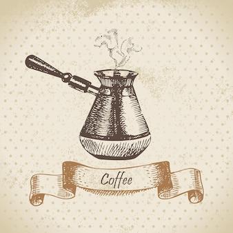 Pote de café. ilustração desenhada à mão