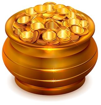 Pote de cerâmica cheio com moedas de ouro