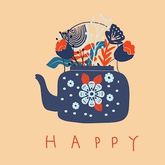 Pote de chá de arte popular com ilustração em vetor impressão bloco flor