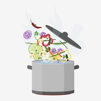 Pote de cozinha aberto