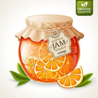 Pote de geléia de laranja
