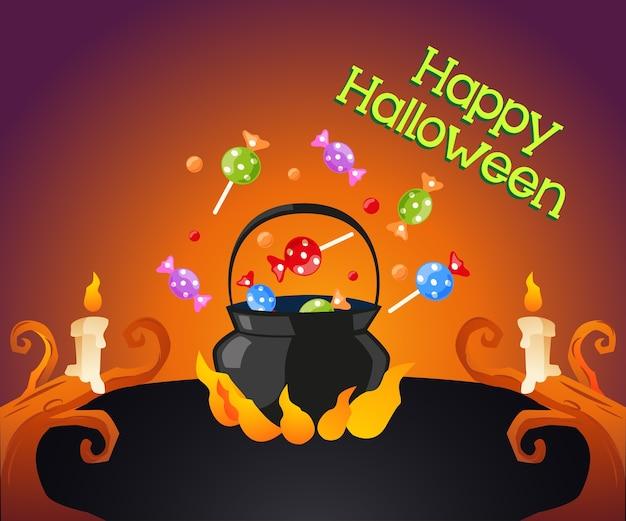 Pote de halloween com doces e bolha quente