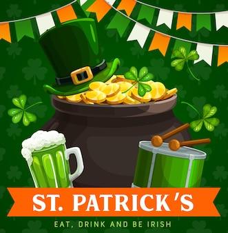 Pote de leprechaun do dia de são patrício com cartão de ouro do feriado irlandês