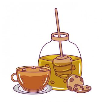 Pote de mel isolado