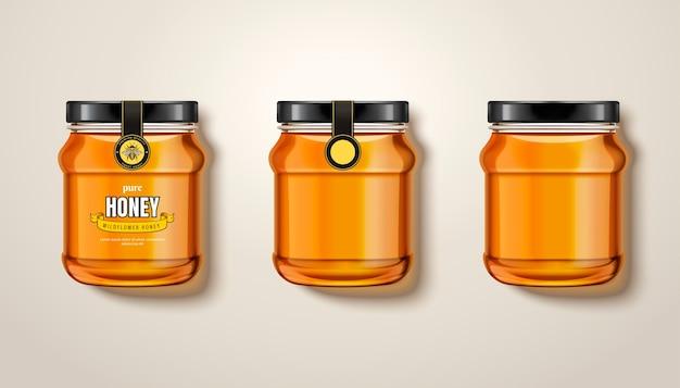 Pote de mel puro, vista superior de potes de vidro com mel na ilustração, alguns com rótulos e embalagem