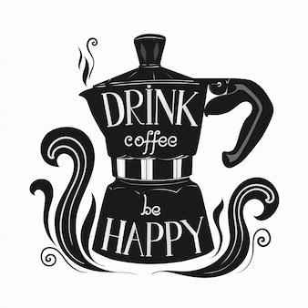 Pote de moka com letras sobre café