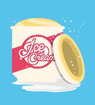 Pote de sorvete delicioso
