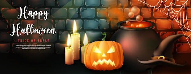 Pote de veneno mágico da bruxa feliz e lanterna de abóbora de vela de chapéu com fundo de parede de tijolo retrô vintage