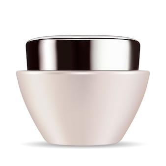 Pote de vidro branco pérola cone com preto brilhante