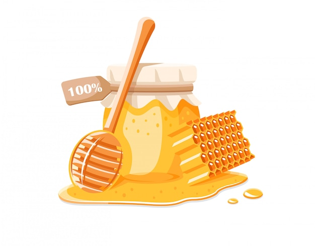 Pote de vidro com ilustração de mel