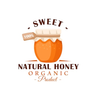 Pote de vidro com mel em um fundo branco. etiqueta de mel, logotipo, conceito de emblema. ilustração