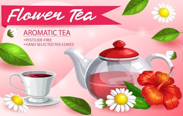 Pote de vidro para chá de ervas, hibisco, camomila e hortelã