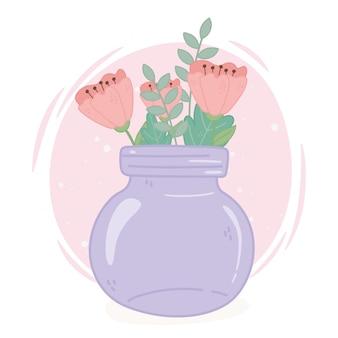 Pote de vidro roxo com decoração de flores