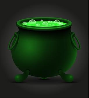 Pote do caldeirão com ilustração da poção mágica das bruxas isolada no fundo preto