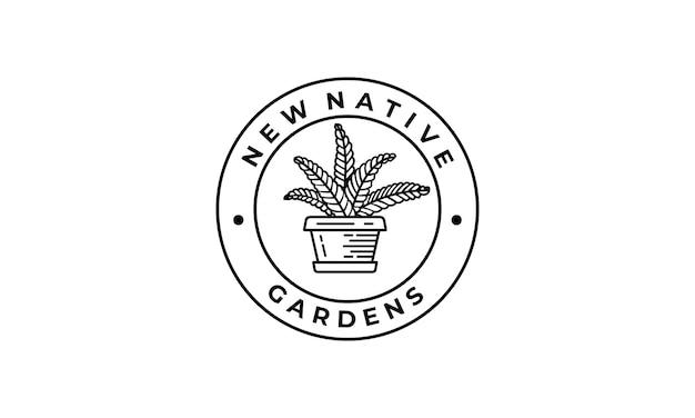 Pote vintage e logotipo de flores decorativas