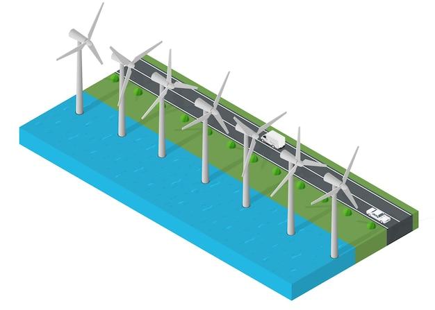 Potência da turbina eólica. conceito de energia limpa isométrica. ilustração do vetor de energia eólica.