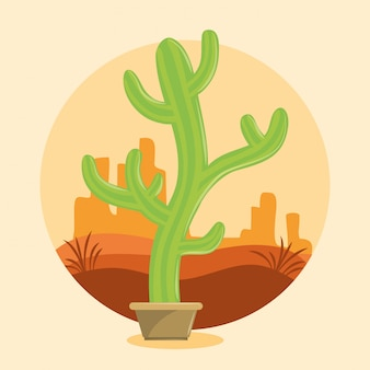 Potenciômetro suculento do cacto no desertscape