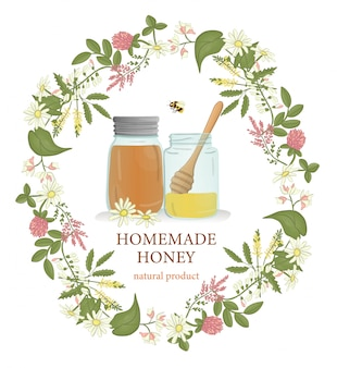 Potes de mel emoldurados com grinalda de flores silvestres e abelhas