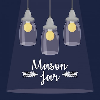 Potes de pedreiro com lâmpadas penduradas