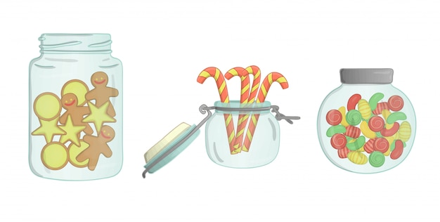 Potes de vidro com biscoitos, bastões de doces, pão de gengibre, doces
