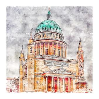 Potsdam alemanha ilustração em aquarela de esboço desenhado à mão