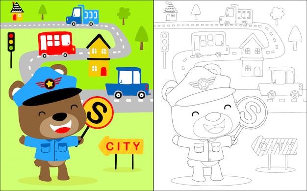 Pouco cartoon de policial de trânsito