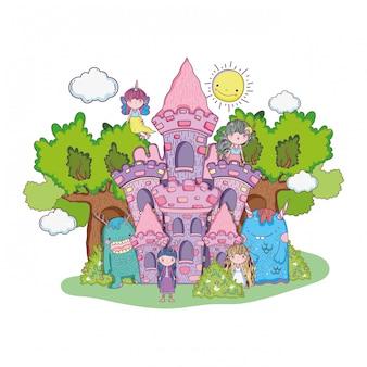 Pouco fadas grupo com monstros no castelo