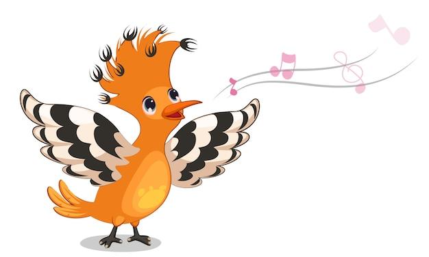 Poupa pássaro cantando cartoon ilustração vetorial