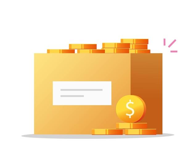 Poupança de banco de moedas ou caixa de dinheiro cheia de moedas em dinheiro