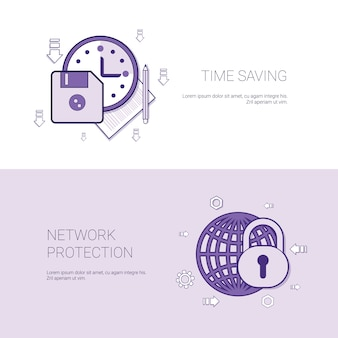 Poupança de tempo e banner de modelo de proteção de rede com espaço de cópia