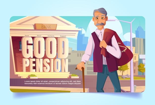 Poupança do fundo de pensão em desenho animado da página de destino