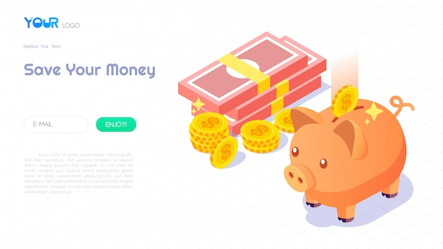 Poupar dinheiro com o conceito de mealheiro, mealheiro isométrico moderno, dinheiro e moedas em abstrato para o modelo de site. ilustração vetorial